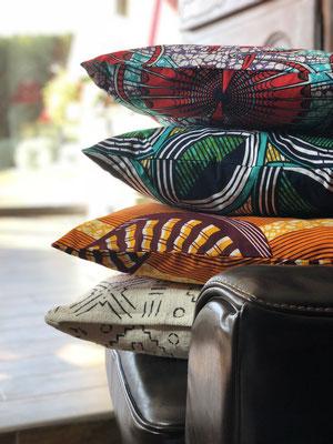 coussins en wax africain
