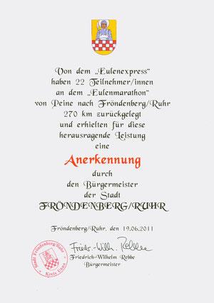 Urkunde der Stadt Fröndenberg