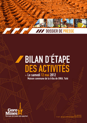 Goro Mines - Mise en page du dossier participant (12p) et du communiquer de presse (20p)