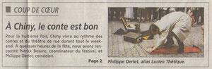 Article de Philippe Colling sur Esthétique ou pas Thétique au Festival des contes de Chiny (Patrick Besure)