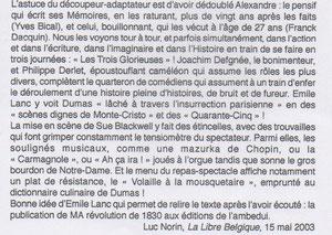 La Libre Belgique, 15 mai 2003