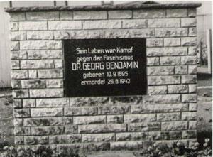 Gedenkstein für Dr. Georg Benjamin(