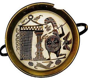 Achille spia Troilo. Coppa di fattura laconica, 560-500 a.C. Museo del Louvre. Parigi