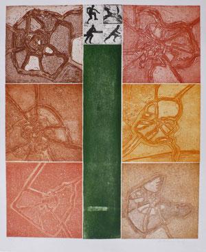 Kleinarkadien Radierung e.a. (Motiv 48x59 cm, Blatt 57x78 cm)