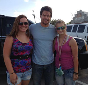 Brenda's beautiful girl, Maddie Trim, had her picture taken with Mark Wahlberg on the set of Transformers 4! Yeah, he looks as good in person!!