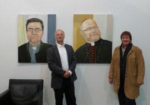 Kardinal Marx - Msgr. Boeck mit den Künstlern  Werner Maier u. Karin Meier