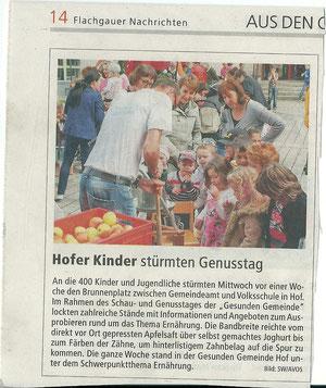 Beitrag der Flachgauer Nachrichten vom 16. Mai 2013