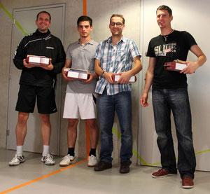 Siegerbild Herren: 1. Patrick Schüsseler (DE), 2. Dardan Uka (CH), 3. Sascha Gojkovic (CH) und Martin Peinsold (CH)