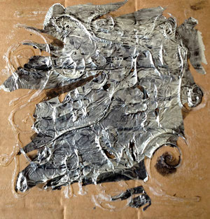 Art Work by Rea Kosumi, class VIII/4 - aluminium foil on cardboard - Novel: In the trace of the difference by Arben Theodhosi