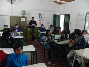 The teacher Alvaro López and the students