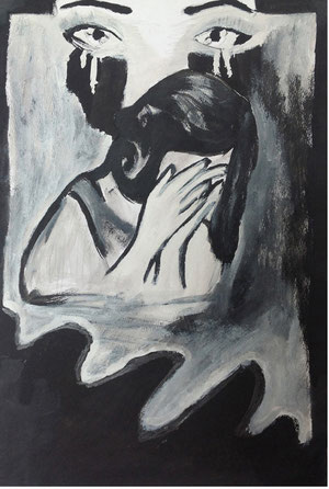 Art Work by Gresa Ajeti, class IX/6 - tempera on paper - Novel: The Accident by  Ismail Kadare