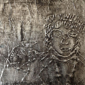 Art Work by Donarta Misini, class VIII/4 - aluminium foil on cardboard - Novel: New Life by Orhan Pamuk