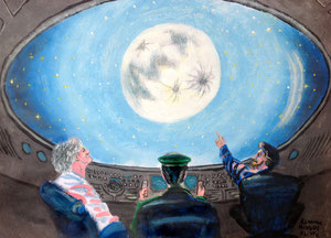 Art Work by Klodian Mekolli, class VI/6 - acrylic on paper - Novel: From the Earth to the Moon by Jules Verne