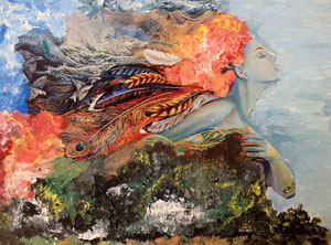 Art Work by Gresa Vitija, class VIII/1 - collage and tempera on paper - Novel: Unfinished dream of a woman by Brunilda Zllami