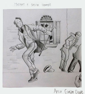 Art Work by Lis Vranica, class VIII/5 - pencil on paper - Novel: The Sherlock Holmes Mysteries by Arthur Conan Doyle