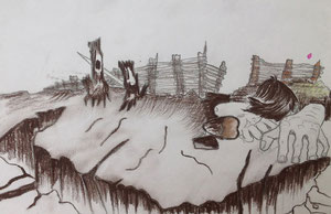 Art Work by Berat Aliu, class IX/3 - wooden colours and pencil - Novel: Blooded Land by Nazmi Rrahmani