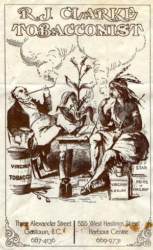 Papieren zak van de tabakszaak R.J. Clarke ; de eerste gambier pijpen in de collectie