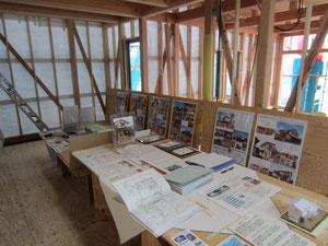 住宅のパネルや岡山の木も展示