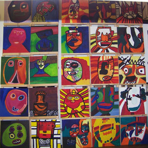 """Masken"", 2010-2011, Gouache auf Leinwand, versch. Künstler, je 40x40"