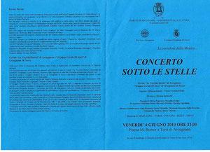 Pieghevole distribuito in occasione del concerto a Torri di Arcugnano