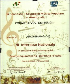 Riconoscimento ufficiale per Interesse Nazionale dimostrato dalla Corale Le Voci dei Berici