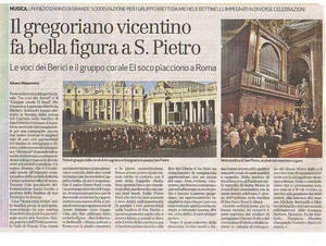 Corale le Voci dei Berici e gruppo Corale El Soco cantano in San Pietro a Roma