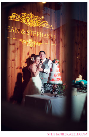 Monogram at wedding reception at McKinney Cotton Mill