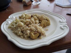 Poulet Curry Coco servi avec du blé