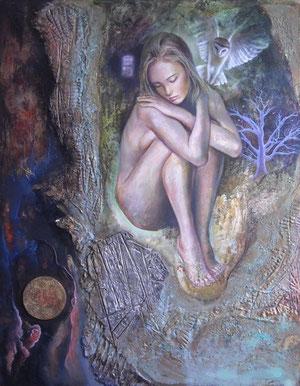 『夢の中の月』F50号ミクストメディア(mixed media)2001年頃 116,7cm×91cm oil on canvas
