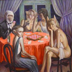 """「夜のゲーム」 2007年 油彩 S100号 香西文夫・作 """"Night game"""" 2007 162cm×162cm oil on canvas"""