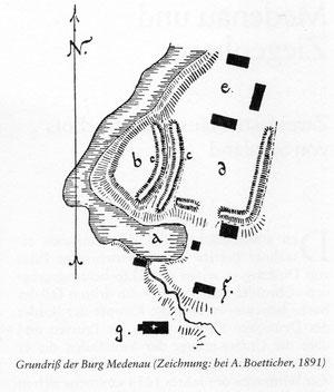 а - пруд, в - крепость, с - валы, d - форбург,  g - кирха, e - имение.