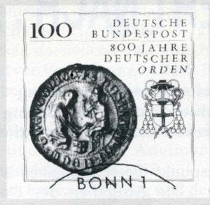 Почтовая марка посвящённая 800 летию Тевтонского ордена.