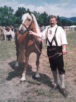Haflinger Landesausstellung Ebbs 1997 - Oswald Tiefenthaler mit Stute Gidra
