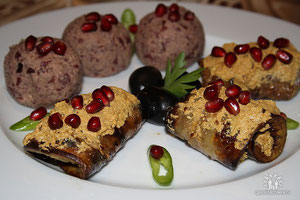 Auberginen mit Nüssen und. Lobio  (Kidney-Bohnen mit Walnuss )