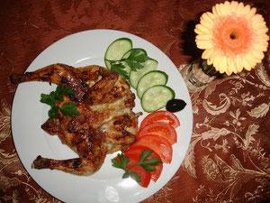 Stubenküken  (mit Knoblauch im Ofen gebacken)