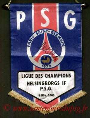 Fanion Officiel PSG-Helsingborg IF 2000-01