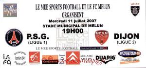 Affichette  PSG-Dijon  2007-08