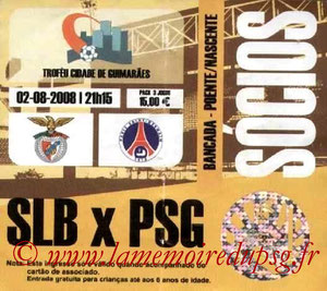Ticket  Benfica-PSG  2008-09