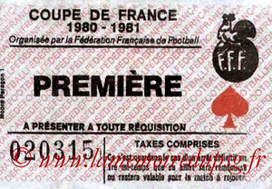 Ticket  Rennes-PSG  1980-81