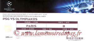 Ticket  PSG-Olympiacos  2013-14