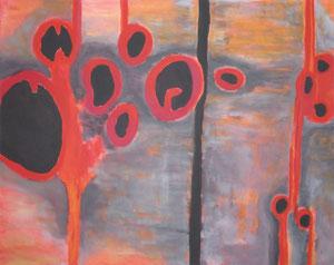 Sarkomer (80 x 100, Acryl auf Leinwand, Umsetzung einer Detailaufnahme eines entspannten Skelettmuskels)