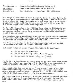 Niederschrift der Gründungsversammlung vom 17.April 1985