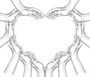Les mains formant un coeur de l'association omea, pour partager des bonnes infos et symboliques du héron bleu.