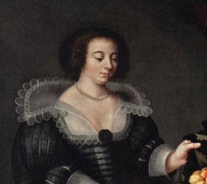 """Nous n'avons pas de portrait de Louise Moillon, ceci est un détail de son tableau """"La Marchande de fruits et légumes """" (1630) © Musée du Louvre"""