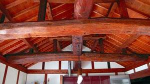 食堂 天井小屋組み 全部古材