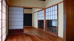 リビングより寝室を見る 廊下・外部の障子雪見障子