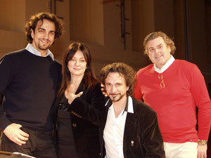With Daniela Dessì, Fabio Armiliato, Claudio Sgura at La Traviata recording in Parma