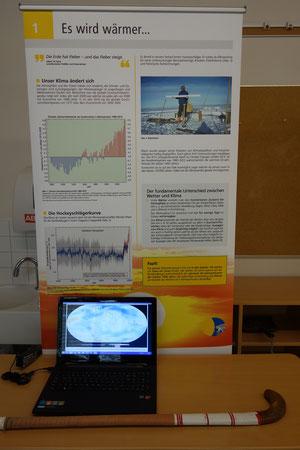 Der Hockeyschläger veranschaulicht den Temperaturverlauf auf der Nordhalbkugel in den letzten Jahrhunderten. Ein Video zeigt die Weltkarte der Tempersturentwicklung der letzten etwa 130 Jahre.