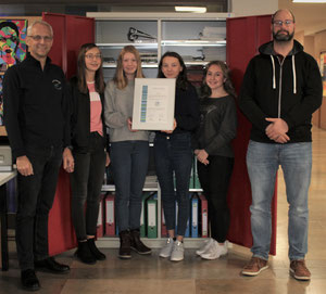 Rektor Weniger (links) und Teamleiter Umwelt& Energie Thomas Schelle (rechts) mit Schülern des Öko-Shops und der Urkunde zur recyclingfreundlichen Schule.