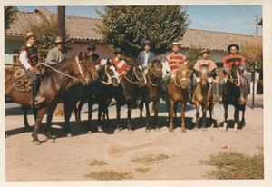 LOS  HUASOS  del sector: Están de  izquierda a derecha; Carlos Pino, Juan Muñoz Reveco, Daniel Baeza  Mejías, Fernando Cornejo, Carlos Enrique Pino, Héctor Ureta Salinas y Gaspar González Ubilla. Década de 1980.